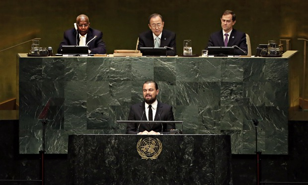 Leonardo DiCaprio, Ban Ki-moon at UN heaquarters during NYC climate week