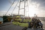 Greenpeace's Rainbow Warrior ship arrives in Tangiers, on The Sun Unites Us tour, in the Morocco, on 28 October 2016.   N35°47.482' W5°48.089'
