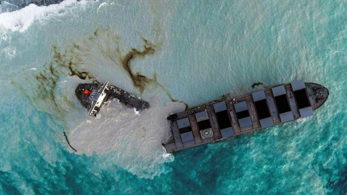 An aerial view on Sunday of the MV Wakashio which ran aground and broke into two parts off Mauritius © AFP via Getty Images